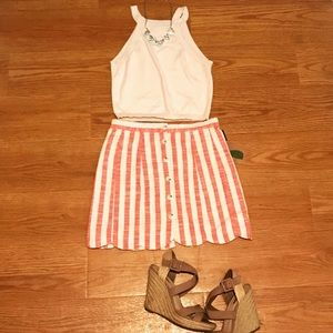 ‼️NEW Forever 21 High Waisted Coral Stripped Skirt